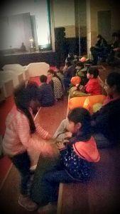 Sister's taking turns at the Cushion Dhol