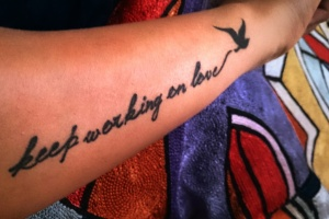 Keep working on love -Richard Bach , Seagull, Tattoo